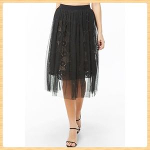 New Forever21 Mesh Embroidered-Lace Midi Skirt